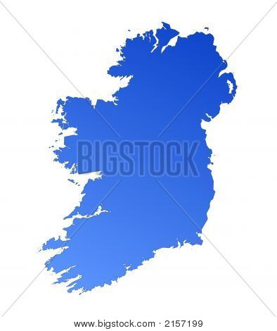 Blue Gradient Map Of Ireland