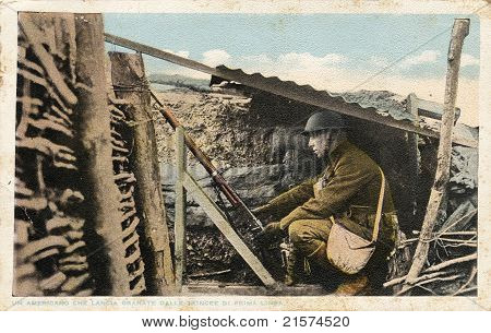 American Soldier in  Front Line Trench