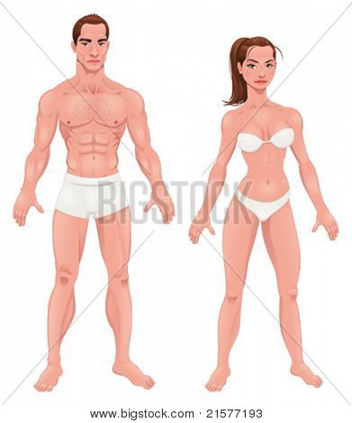 Man and Woman. Vector isolated characters