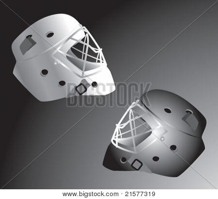 Hockey helmets on gray backdrop