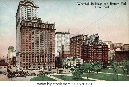 NEW YORK CITY – CIRCA 1912: Vintage postcard depicting the Whitehall Buildings & Battery Park, New York City, USA, circa 1912.