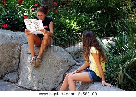 Teens looking at a map