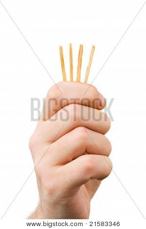 Hand And Matches - Draw Lots