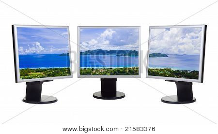 Panorama Of Island On Computer Screens