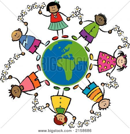 Friends Around The World Africa And Europe (Vector) - Cartoon Illustration Of Multi Racial Kids Link