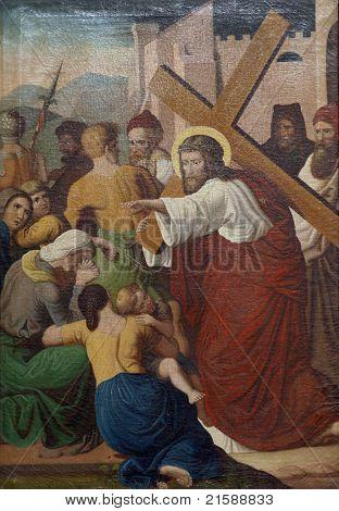 Jesus meets the daughters of Jerusalem