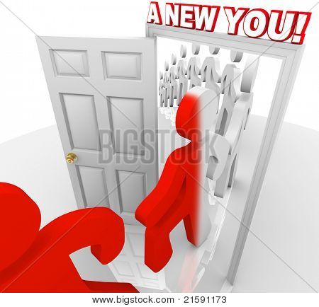 Several people walk through a doorway marked A New You, representing the self-improvement and reinvention that can happen when you set out to improve yourself