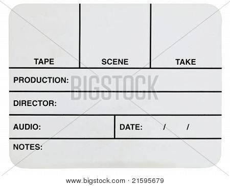 Blank White Video Slate