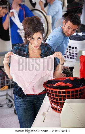 Woman Holding Granny Panties