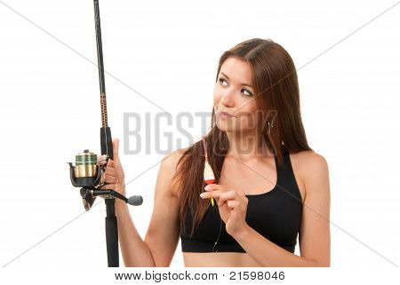 Woman Fishing Pole Rod With Reel And A Float In Hands On A White Background