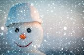 New Year Snowman From Snow In Winter. poster