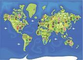Постер, плакат: мультфильм карта мира