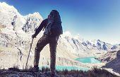 Hiking scene in Cordillera mountains, Peru poster