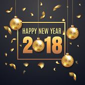 Elegant Happy New Year 2018 Illustation Background With Christmas Ball. Happy New Year Banner With G poster