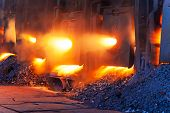 image of blast-furnace  - Very rare close view of working open hearth furnace at the metallurgical plant - JPG