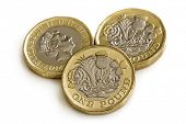New British one pound coins, isolated on white background. poster