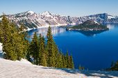 image of klamath  - Snow in summer on Crater Lake Oregon - JPG