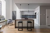 Bar Stools And Kitchen Island poster