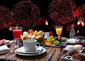 new years breakfast with fireworks poster