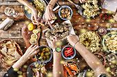 Christmas Dinner. Falling Golden Snowflakes. Cheers Top Of View Of A Nicely Served Wooden Table Chri poster