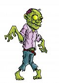 foto of zombie  - Cartoon zombie with brains exposed isolated on white - JPG