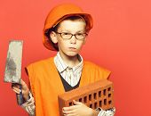 Young Cute Builder Boy poster