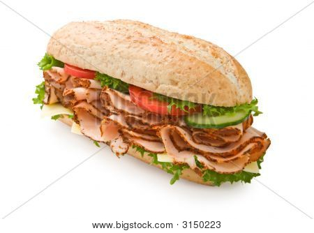 Turkey Breast Submarine Sandwich With Cheese, Tomatoes And Cucum