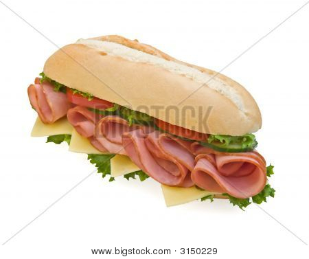 Fresh Ham & Swiss Submarine Sandwich