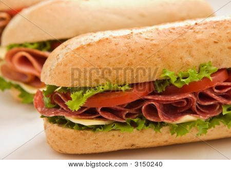 Whole Wheat Salami Submarine Sandwich With Other Sandwiches In T