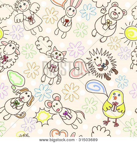 Childe drawing seamless pattern