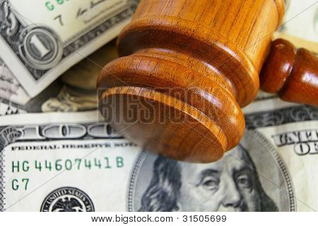 gavel on cash