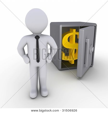 Businessman In Front Of Safe