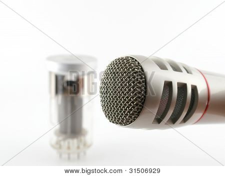 Microphone And Old Glass Triode (valve)