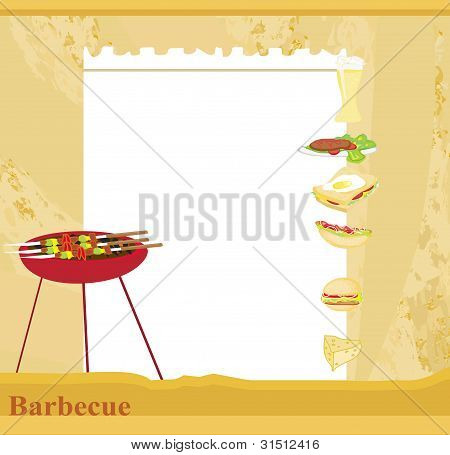 grunge Barbecue Party Invitation , vector illustration