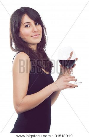 Attractive Girl With Glass Of Wine