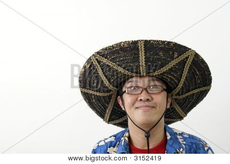 Asian Man With Mexican Hat