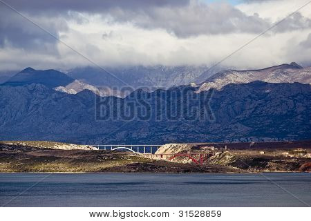 Bridges Of Maslenica Under Velebit Mountain