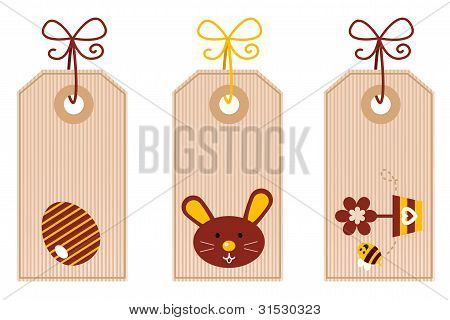 Retro Easter Labels Set Isolated On White