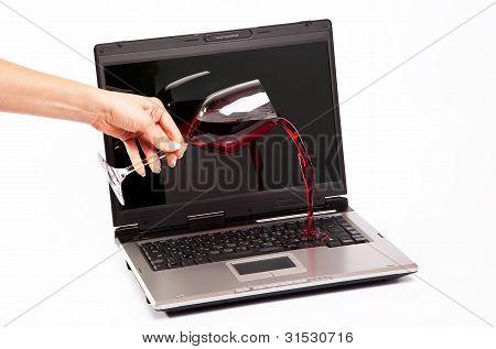 Wine Spilled On Laptop