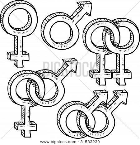 Gender relationship symbols sketch