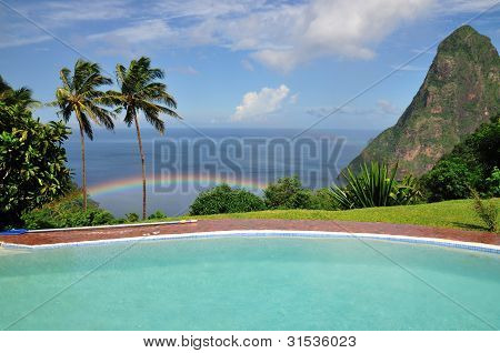 Rainbow below the Pitons