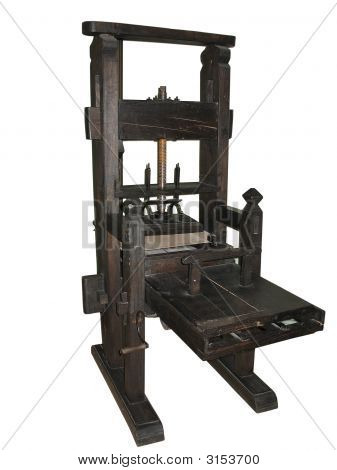 Antique Black Letterpress Isolated On White