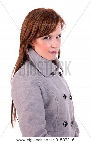 Beautiful And Happy Middle-aged Woman, Looking To Camera With A Coat, Isolated On White Background,
