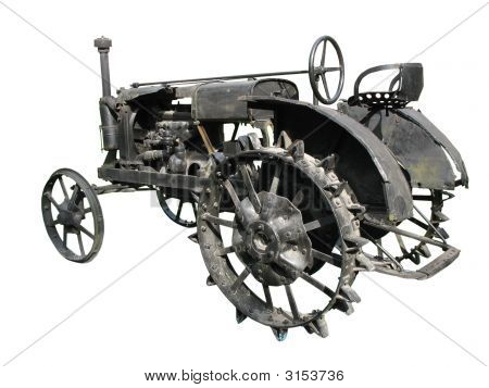 Old Tractor Isolated Over White Background