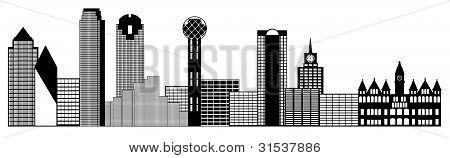 Dallas City Skyline Panorama Clip Art