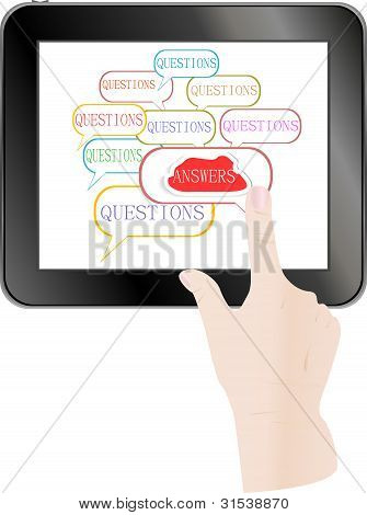 Hand Check Answer Cloud On Tablet Pc