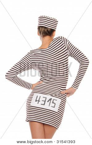 Woman In Striped Dress For Prisoners From Back