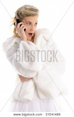 Surprised Bride With Telephone