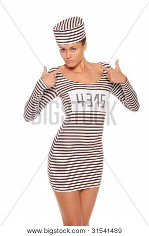 Woman In Striped Dress For Prisoners