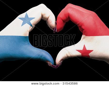 Heart And Love Gesture By Hands Colored In Panama Flag  For Tourism